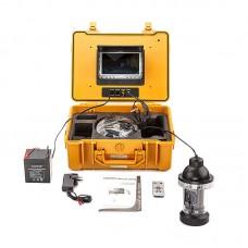 Sistema de monição de vídeo submarino com câmara CCD, controlo remoto e borescópio com 50 mts profundidade
